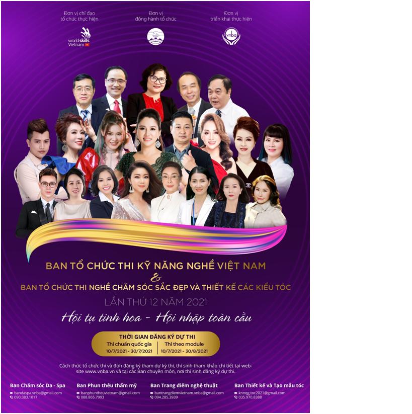 """Ban tổ chức thi kỹ năng nghề Việt Nam và ban tổ chức thi nghề chăm sóc sắcđẹp và thiết kế các kiểu tóc lần thứ 12 năm 2021 """"Hội thụ tinh hoa – Hội nhập toàn cầu"""""""