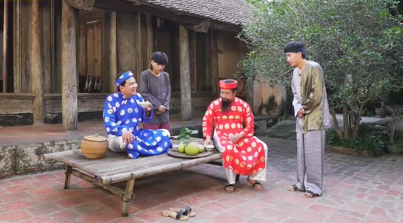 Cảnh diễn cùng NSƯT Quốc Anh trong tác phẩm Hài dân gian Trạng Quỳnh 2021