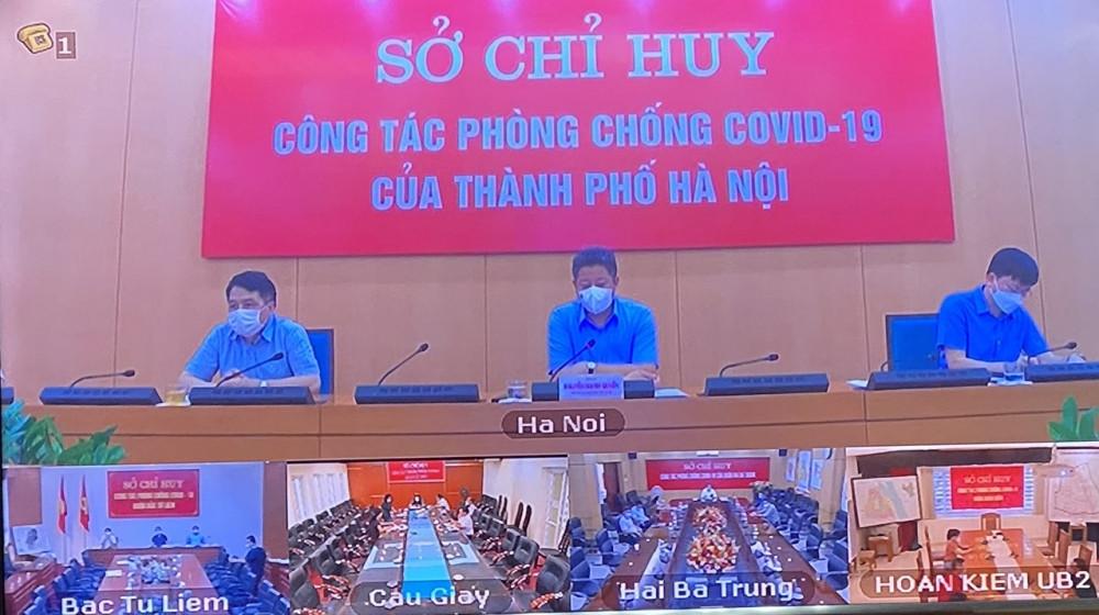 Phó Chủ tịch UBND Thành phố Nguyễn Mạnh Quyền chủ trì phiên họp trực tuyến.