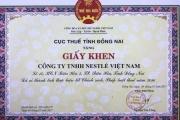 Lần thứ 5 liên tiếp Nestlé Việt Nam nhận Bằng khen của Cục thuế Đồng Nai