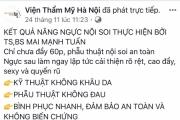 """Viện thẩm mỹ Hà Nội quảng cáo """"vượt phép"""" dù từng bị xử phạt"""