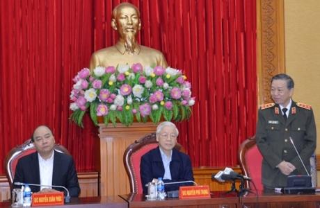 Tổng Bí thư, Chủ tịch nước Nguyễn Phú Trọng dự Hội nghị Thường vụ Đảng ủy Công an Trung ương