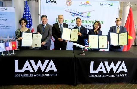 Bamboo Airways, hãng bay Việt đầu tiên ký hợp tác 4 bên với Los Angeles, phát triển bay thẳng Việt - Mỹ